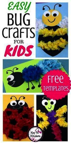 Easy Bug and Insect Crafts - Free - Key to Kinders - School ideas - I confess…Bugs and Insects are not my favorite theme to teach. BUT with these cute bug crafts add - Ant Crafts, Insect Crafts, Preschool Crafts, Kids Crafts, Preschool Kindergarten, Dragonfly Crafts, Preschool Bug Theme, Toddler Arts And Crafts, Diy Crafts For Kids Easy