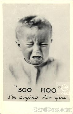 This represents Walter because he is very thick minded and acts like a cry baby with some situations. Photo Postcards, Vintage Postcards, Crocodile Tears, Cry Baby, Vintage Photographs, Funny Faces, Funny Photos, Boohoo, Crying