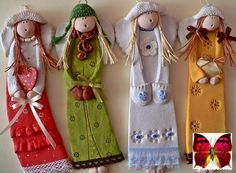 paper mache art dolls pretty little designs that could be used for an art installation or created for a splendid form of christmas decoration Polymer Clay People, Fimo Clay, Polymer Clay Projects, Clay Dolls, Art Dolls, Pottery Angels, Handmade Angels, Paperclay, Cold Porcelain