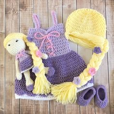 Excited to share this item from my shop: Princess Rapunzel Inspired Costume and Matching Doll/Baby Shower Gift Set/Princess Photo Prop Newborn to 24 Month Size-MADE TO ORDER Crochet Princess, Baby Girl Crochet, Crochet Baby Clothes, Vestidos Princesas Disney, Crochet Baby Costumes, Princess Rapunzel, Rapunzel Dress, Crochet Disney, Baby Cocoon