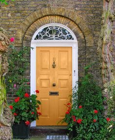 Front doors should be an accent colour. In other words, they should be a strong, dramatic, bold shade. Usually, your front door colour should not be repeated anywhere else on your house although I have seen some exceptions to that rule.