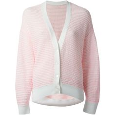 Chloé V-Neck Cardigan ($587) ❤ liked on Polyvore featuring tops, cardigans, outerwear, v neck long sleeve top, pink long sleeve top, long sleeve v neck cardigan, v neck cardigan and long sleeve cardigan