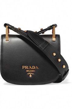 b2ace51a39b525 PRADA Pionnière Leather Shoulder Bag Siyah Deri, Kadın El Çantaları,  Küpeler, Ayakkabılar,