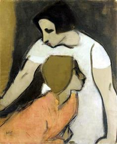 "womeninarthistory: "" The Alarm, Helene Schjerfbeck "" Helene Schjerfbeck (Fi. The Alarm cm Helene Schjerfbeck, Figure Painting, Painting & Drawing, Portrait Art, Portraits, Female Painters, Claude Monet, Oeuvre D'art, Figurative Art"