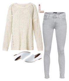 """Emmy Rossum Inspired Outfit"" by daniellakresovic ❤ liked on Polyvore featuring Elizabeth and James, 7 For All Mankind, Yosi Samra and Lipstick Queen"