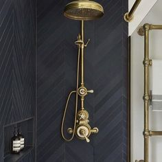 Urban Townhouse Case Study / Drummonds Bathrooms Shower with dark grey tiling and brass shower head and taps Bad Inspiration, Bathroom Inspiration, Budget Bathroom, Master Bathroom, Bathroom Remodeling, Remodeling Ideas, Bathroom Ideas, Bathroom Black, Master Shower