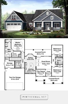 (a few changes but LOVE this floor plan) Country House Plan 55603 Best House Plans, Dream House Plans, Small House Plans, House Floor Plans, My Dream Home, Dream Houses, Ranch Floor Plans, 3 Bedroom Home Floor Plans, House Plans One Story