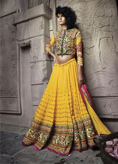 Yellow embroidered Pure Georgette and Net unstitched lehenga-choli