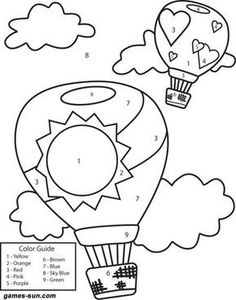 (^_^) hot air balloons coloring by numbers - games the sun | games site