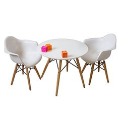 Set of Two White - Kids Eames Style Retro Modern Colorful Dining Room Mid Century Shell Chair Metal Natural Wood Dowel Leg Base Plastic Molded Armchair ...  sc 1 st  Pinterest : toddler table and chair set plastic - pezcame.com