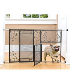 Love this Adjustable Scroll Metal Pet Gate With Door on #zulily! #zulilyfinds