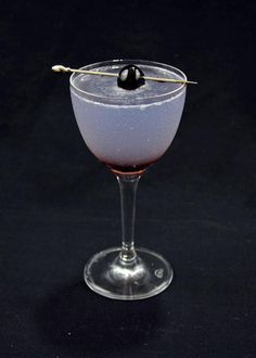 Aviation ::  Recipe      2oz gin , preferably dry     ¼oz creme de violette     ¼oz maraschino liqueur     ½oz simple syrup     ½oz lemon juice     cherry  Instructions      Combine all ingredients with ice and shake     Strain into a chilled coupe     Garnish with a cherry