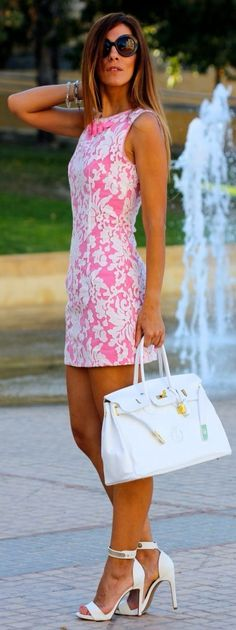 Perfect Short Pink Dress White Floral Lace Fitted Casual Summer Look 2015.