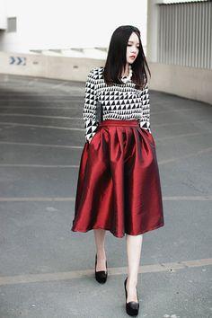 Red Skater #skirt #midiskirt #fullskirt