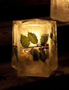 Islykt / Ice lantern with Holly / Kristorn http://www.gardenliving.no/