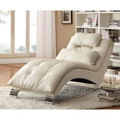 Contemporary and comfortable, this Coaster Furniture Carlsbad Chaise Lounge makes a designer statement and maximizes relaxation. This chaise lounge. Living Room White, Living Room Chairs, Living Room Furniture, Home Furniture, Furniture Design, Furniture Ideas, Sofa Ideas, Furniture Upholstery, Rustic Furniture