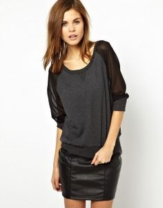 French Connection Ditton Sweatshirt with Sheer Raglan Sleeves