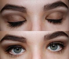 The white pencil, liquid liner, and mascara shown on closed and open eyes.