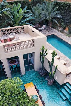 An aerial view of the dining areas and swimming pool,  home of François Gilles.