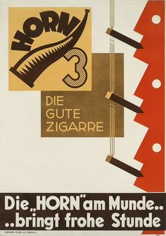 Poster for the good Horn Cigar 3, Switzerland (1930).