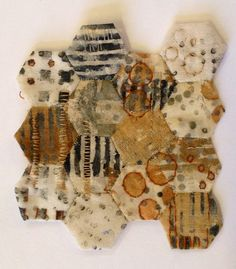 Julia Wright, rust dyed, printed and hand stitched patchwork. Reminds me of a honeycomb! Textile Fiber Art, Textile Artists, How To Dye Fabric, Fabric Art, Textiles Sketchbook, A Level Textiles, Tea Bag Art, Textiles Techniques, Hexagon Quilt