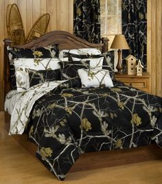 Realtree Black Camo Bedding is for those who prefer a realistic woods and forest looking camouflage pattern in optional black and white colors.
