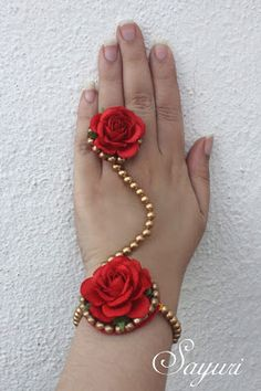 Rich Bridal red floral jewelry
