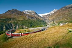 This panoramic train connects the north of Europe to its south – right through the UNESCO World Heritage site of Rhaetian Railway, passing by glaciers on its way down to palm trees. Switzerland Tourism, Bernina Express, Christmas In Europe, Swiss Railways, Train Travel, Alps, Palm Trees, Tours, Italy