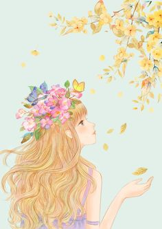 秋意-暴走的小鱼_女孩,蝴蝶,鲜花_涂鸦王国插画