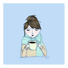 Girl with coffee ~ By Paola Castro