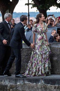 Charlotte Casiraghi et son compagnon Gad Elmaleh - Arrivées pour la soirée de mariage de Pierre Casiraghi et Beatrice Borromeo au château Rocca Angera (château appartenant à la famille Borromeo) à Angera sur les Iles Borromées, sur le Lac Majeur, le 1er août 2015.