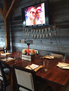 an intimate wedding reception in the Porch room at Virtue #virtueevents #loveislove #rusticwedding
