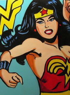 Super Hero Wonder Woman Pop Art Painting by SkyesArtShop on Etsy, $250.00