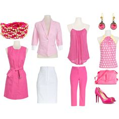Mix and Match Strawberry Tart, Strawberry Tart looks nothing like a Strawberry Short Cake. Mix and match items like the belted twill dress with the seersucker jacket, or wear the jacket with the Dree capri pants and rope tank top. For a more business casual look switch the pants for a white shirt. Polka dot halter top can be worn with many different options, skirt, pants, capris and shorts! Created by tbowers324 on Polyvore