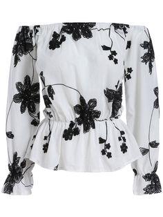 White+Black+Off+the+Shoulder+Floral+Blouse+15.90