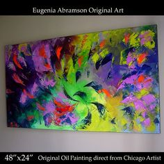 Original Abstract OIL Painting Wall Decor on Canvas 48x24 Eugenia Abra