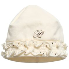 Baby Girls Ivory Hat with Diamanté Ruffle, Miss Blumarine, Girl
