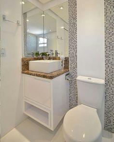 """1,238 curtidas, 16 comentários -  INSTABLOG - Apartamento 253. (@apt253) no Instagram: """"Linda inspiração para minis banheiros! ✨ Foto: Reprodução/ Pinterest. #HomeDesign #HomeDecor…"""""""