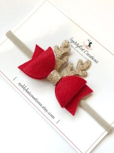 Excited to share the latest addition to my shop: Reindeer Bow, Riendeer Headband, Christmas Bo Making Hair Bows, Diy Hair Bows, Handmade Hair Bows, Hair Bows For Sale, Bow Making, Bow Template, Felt Bows, Christmas Accessories, Christmas Bows