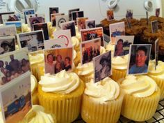 How do you decorate cupcakes for a man's 60th birthday? Collect fun photos from years gone by-copy them on card stock (laminate them if you can) adhere to a toothpick and there you have it