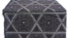Antique Indigo. Hand Loomed Japanese Katazome Cotton. Aizome. Geometric Floral Stencil Design (Ref: 851)