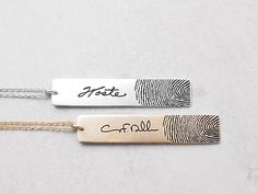 Personalized Fingerprint Bar Necklace - Actual Fingerprint Necklace - Memorial Jewelry - Sympathy Gift - Mother's gift PN24 by GracePersonalized on Etsy https://www.etsy.com/listing/210604770/personalized-fingerprint-bar-necklace