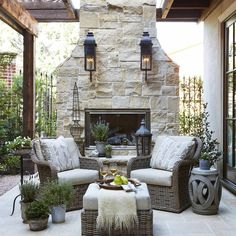 The Happiness of Having Yard Patios – Outdoor Patio Decor French Country Living Room, French Country Decorating, French Country Fireplace, Country Bedrooms, Southern Living, Rustic French, French Country Porch, French Country Interiors, French Cottage