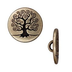 Brass Oxide Finish Pewter Tree Of Life Button 15.5mm (2) TierraCast