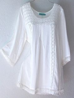 NEW~Ivory White Crochet Lace Peasant Blouse Shirt Plus Boho Top~18 ...