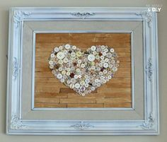 Hometalk :: Old Frame Repurposed With Faux Pallet Button Heart Art