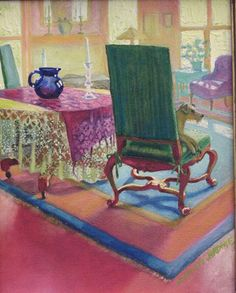 Pliny in the Parlor by Kathleen Jardine Interior Rendering, Art For Art Sake, Rocking Chair, Home Art, Family Room, Dog Cat, Folk, Artsy, City Scapes