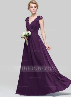 A-Line/Princess V-neck Floor-Length Ruffle Zipper Up Cap Straps Sleeveless No Royal Blue Spring Summer Fall General Plus Chiffon Bridesmaid Dress