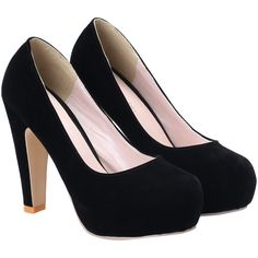 SheIn(sheinside) Black High Heel Hidden Platform Pumps ($25) ❤ liked on Polyvore featuring shoes, pumps, heels, chaussure, sapatos, black, black court shoes, black heel pumps, round toe shoes and kohl shoes