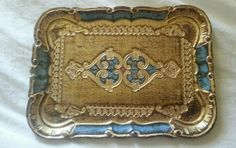 Antique/Vintage Florentine Italy Gilt/Blue Wood Toleware Tray handmade by Aram in Antiques, Decorative Arts, Woodenware | eBay